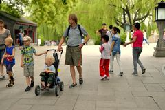 Foreign families in Beijing beihai park Royalty Free Stock Photos
