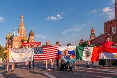 Foreign fans of the World Cup 2018 on Red Square. Royalty Free Stock Photo