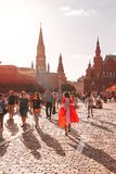 Foreign fans of the World Cup 2018 on Red Square. Stock Photos