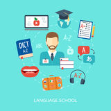 Foreign language courses and schools concept. Flat design. Vector. Illustration Royalty Free Stock Image