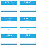 Foreign Language Hello sticker in European languag. Foreign Language of Hello My name is sticker in English, French, Italian, German, Spanish, Portuguese Royalty Free Stock Image