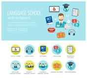 Foreign language learning web design concept for website and landing page. Foreign language school and courses. Web banner. Flat d. Esign. Vector illustration Stock Photos