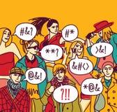 Foreign language misunderstanding people. Foreigner foreign language misunderstanding people. Color vector illustration. EPS8 stock illustration