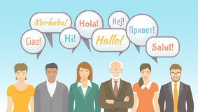 Foreign language school for adults flat illustration. Foreign language school for adults conceptual banner. Group of men and women of different ages and royalty free illustration