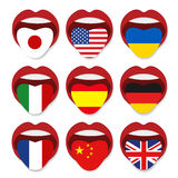 Foreign language school concept. Foreign language tongue open mouth flag of USA England Germany Italy France China Ukraine Spain Stock Image