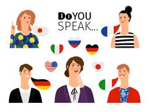 Foreign language school persons. International languages people teaching communication translations, men and women foreigners students, vector illustration vector illustration