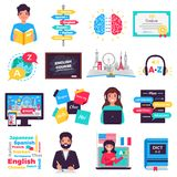 Foreign Language Training Set. Foreign language learning programs tutors online courses training centers smartphone apps flat icons set isolated vector royalty free illustration