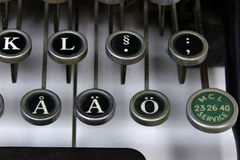 Foreign letters on an old typewriter Royalty Free Stock Photos