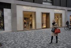 FOREIGN LUXURY STORES IN COPENHAGEN. Copenhagen/Denmark/ _ 02 February 2016_Foreign luxury item store like Salvatore Ferragamo store stock photography
