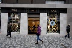 FOREIGN LUXURY STORES IN COPENHAGEN. Copenhagen/Denmark/ _ 02 February 2016_Foreign luxury item store like Tod's store royalty free stock images