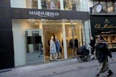 FOREIGN LUXUS SHOPS ON STROEGET. Copenhagen/Denmark/ _ 04 February  2016_Foreign luxus store Marina Rinaldi on stroeget Royalty Free Stock Photo