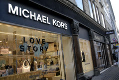 FOREIGN LUXUS SHOPS ON STROEGET. Copenhagen/Denmark/ _ 04 February  2016_Foreign luxus store Micheal Kors on stroeget Royalty Free Stock Image