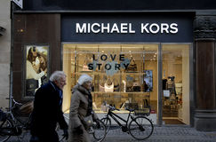 FOREIGN LUXUS SHOPS ON STROEGET. Copenhagen/Denmark/ _ 04 February  2016_Foreign luxus store Micheal Kors on stroeget Royalty Free Stock Photo