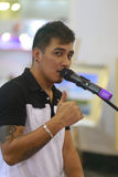 The foreign male singer. Foreign male singer singing in xiamen real estate exhibition, amoy city, china. 2014 Stock Photography