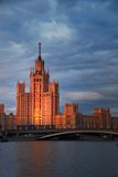 Foreign Ministry, Moscow. Moscow, Foreign Ministry building, Russia, sunset cityscape in river Royalty Free Stock Image