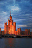 Foreign Ministry, Moscow, Russia, sunset over river, evening cit Royalty Free Stock Images