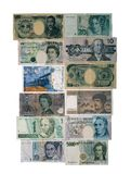 Foreign Money. Foreign paper bills from various countries around the world, shot straight on royalty free stock images