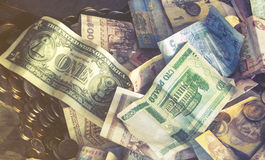 Foreign money collage background Stock Image