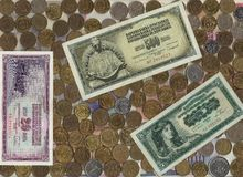 Foreign money and metal coins. Royalty Free Stock Images