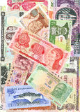Foreign notes. Collection of the old foreign notes Royalty Free Stock Photos