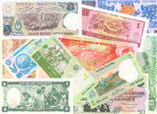 Foreign notes. Collection of the old foreign notes Stock Photography