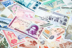 Foreign notes. Collection of the old foreign notes Royalty Free Stock Photography