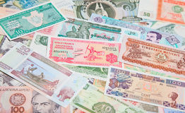 Foreign notes. Collection of the old foreign notes Stock Photos
