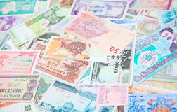 Foreign notes. Collection of the old foreign notes Stock Photo