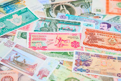 Foreign notes. Collection of the old foreign notes Stock Image