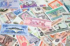 Foreign notes. Collection of the old foreign notes Royalty Free Stock Images