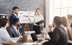 Foreign partner making business presentation. Foreign partner making presentation about teamwork to business team, female interpreter helping him. Teambuilding royalty free stock photography