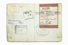 Foreign passport with a British Immigration stamps Stock Photos
