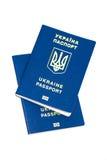 Foreign passport of Ukraine isolated on white background. Ukrain Royalty Free Stock Image