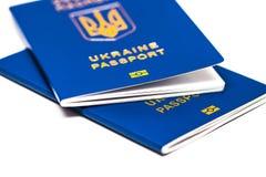 Foreign passport of Ukraine  on white background. Ukrain Stock Images