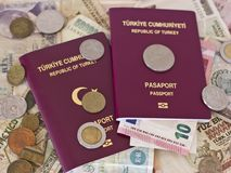Foreign passports and money from different European countries royalty free stock photography