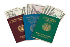 Foreign Passports with US dollars Stock Photography