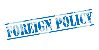 Foreign policy blue stamp Stock Photos