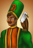 Foreign prince with his eagle. Overseas Prince in a green coat with a feather in the hat. On his shoulder sits an eagle Stock Photo