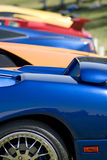 Foreign Sports Cars. Colorful and fast Lamborghini Italian sports cars lined up in a row in Arizona Stock Images