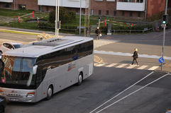 FOREIGN TOURIST BUS ILLEGALE PARKED TRAFFIC SIGNAL. Copenhagen_Denmark _06 May 2017_This foreign tourist bus most of time time parked illegae parking spot on Royalty Free Stock Photos