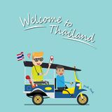 Foreign tourist take tuk tuk for sightseeing attraction around Bangkok, Thailand. tuk tuk is a local taxi vehicle with three wheel. S. ride tuk tuk is most stock illustration