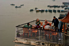 Foreign Tourist at Varanasi Stock Images