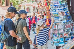 Foreign Tourists,Travellers Looking for Souvenirs at Tourist Shop in Kathmandu Durbar Square stock images