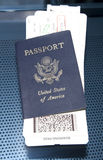 Foreign Travel. USA Passport with Boarding Passes Royalty Free Stock Photography
