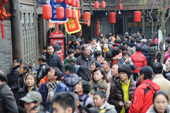 A foreigner in jinli old street  Royalty Free Stock Image