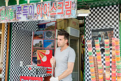 A foreigner selling ice cream in Insa-dong, Korea royalty free stock image