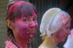 Foreigners Celebrating Holi. Foreigners celebrate the festival of colour Holi in India. Each year tourist from different countries comes to India to celebrate Royalty Free Stock Image
