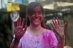 Foreigners Celebrating Holi. Foreigners celebrate the festival of colour Holi in India. Each year tourist from different countries comes to India to celebrate Stock Photos