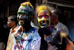 Foreigners in India. March 22, 2011. Free school street,Kolkata,West Bengal,India,Asia-Foreigners pose after playing with colours in Kolkata during the holi Stock Image