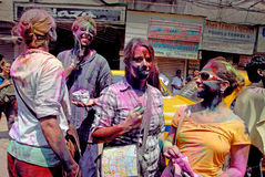 Foreigners in India. March 22, 2011. Free school street,Kolkata,West Bengal,India,Asia-Tourists celebrate the Holi Festival. The most anticipated festivals on Stock Photo